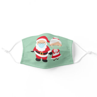 Santa and Mrs. Claus wearing Face masks