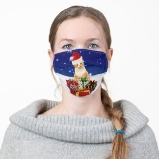 Santa Claus Cat with Christmas Gift Adult Cloth Face Mask