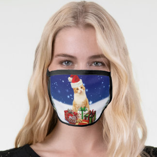 Santa Claus Cat with Christmas Gift Face Mask