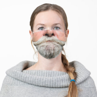 SANTA CLAUS FAKE FACE GRAY BEARD ADULT CLOTH FACE MASK