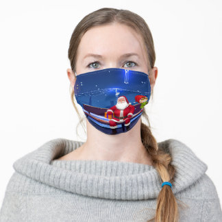 Santa Claus on Park bench Adult Cloth Face Mask