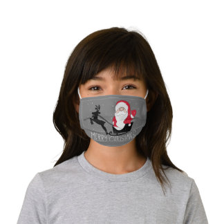 Santa Merry Christmas Santa Sleigh Kids' Cloth Face Mask
