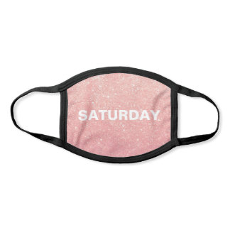 Saturday Faux Rose Pink Gold Glitter Face Mask
