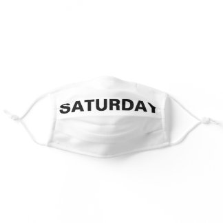 Saturday Solid Plain Black and White Color Adult Cloth Face Mask