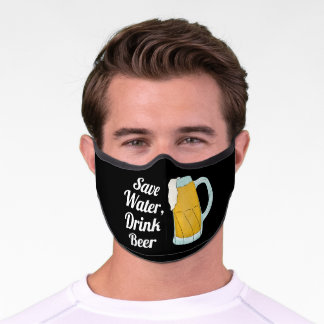 Save Water Drink Beer Quote Funny Watercolor Premium Face Mask