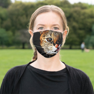 Scared catpainting adult cloth face mask