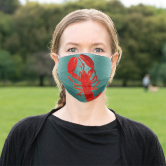 Scarlet Lobster, Ocean, Sea Life, Shell Fish, Aqua Adult Cloth Face Mask