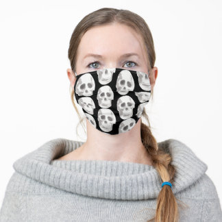 Scary Scull Black & White Pattern Happy Halloween Adult Cloth Face Mask