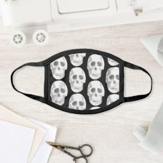 Scary Scull Black & White Pattern Happy Halloween Face Mask