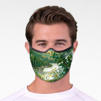 Scenic Mississippi River View From the Bluff Premium Face Mask