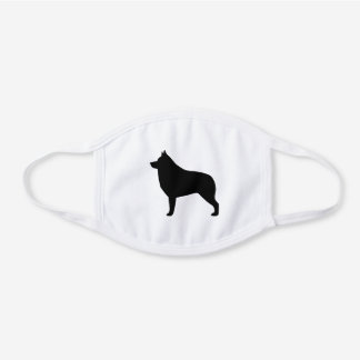 Schipperke Dog Breed Silhouette White Cotton Face Mask