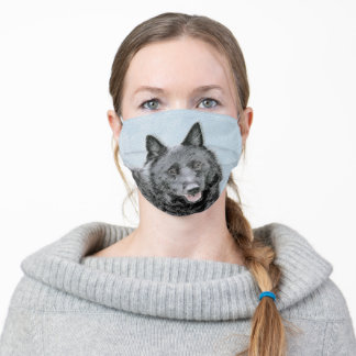 Schipperke Painting - Cute Original Dog Art Adult Cloth Face Mask