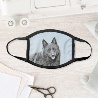 Schipperke Painting - Cute Original Dog Art Face Mask