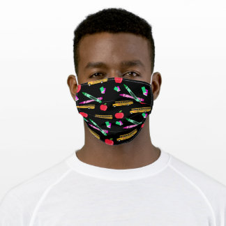 School Bus and Crayons, Teacher Adult Cloth Face Mask