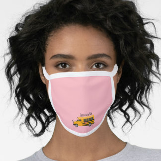 School Bus on Pink All Over Print Face Mask