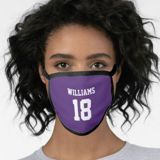 School Football Game Day Purple Spirit Number Face Mask