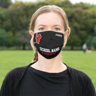 School Sports Baseball, Personalized Adult Cloth Face Mask