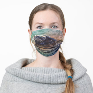 Sea Lion Gliding in Water Watercolor Art Adult Cloth Face Mask