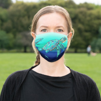 Sea Turtle Turquoise Oceanlife Adult Cloth Face Mask