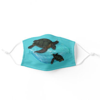 Sea Turtles with Mom and Baby Adult Cloth Face Mask