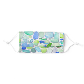 Seaglass Beach glass watercolor painted Face Mask
