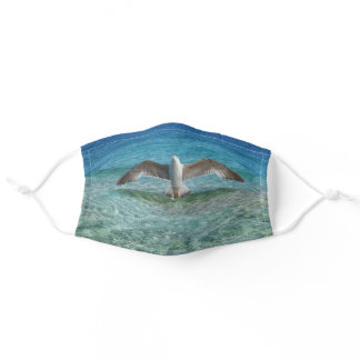 Seagull over the ocean adult cloth face mask