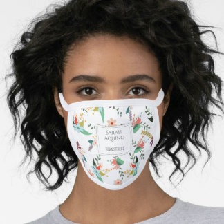 Seamstress Sewing Monogrammed Floral Pattern Face Mask