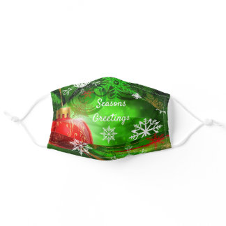 Seasons Greetings Red & Green Christmas Comfort Adult Cloth Face Mask