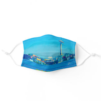 Seattle Skyline From Alki Point Watercolor Adult Cloth Face Mask