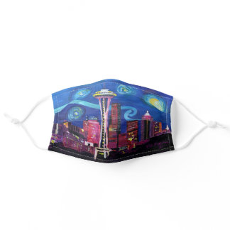 Seattle Starry Night Van Gogh inspired Adult Cloth Face Mask