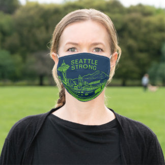 Seattle Strong Skyline Green On Blue Adult Cloth Face Mask