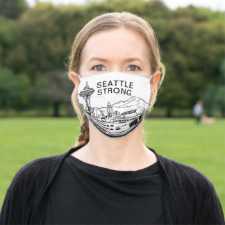 Seattle Strong Skyline White Adult Cloth Face Mask