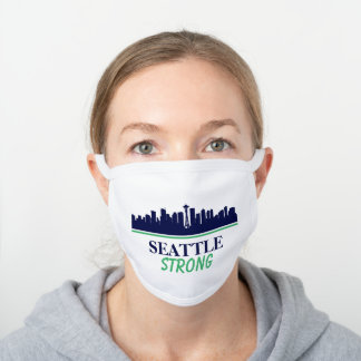 Seattle Strong Skyline White Cotton Face Mask