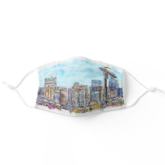Seattle Watercolor Adult Cloth Face Mask