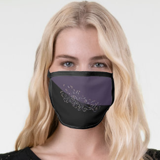 Sequin and Jewel Studded Effect Purple and Black Face Mask