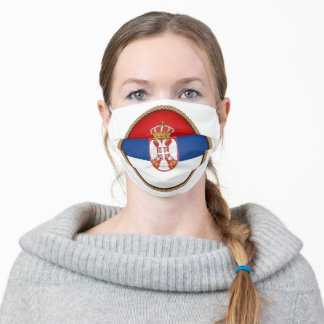 Serbian Flag SEal Adult Cloth Face Mask