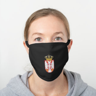 Serbian lesser coat of arms black cotton face mask