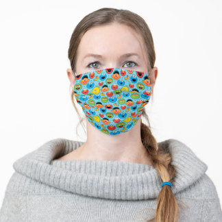 Sesame Street Faces Pattern on Blue Adult Cloth Face Mask