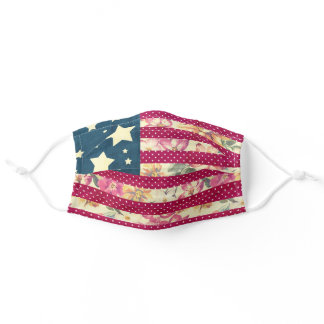 Shabby Chic Floral American Flag Adult Cloth Face Mask