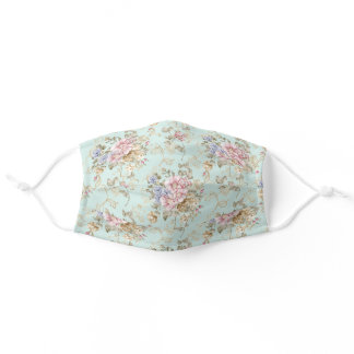 Shabby Chic Pink & Mint Floral Vintage Style Adult Cloth Face Mask
