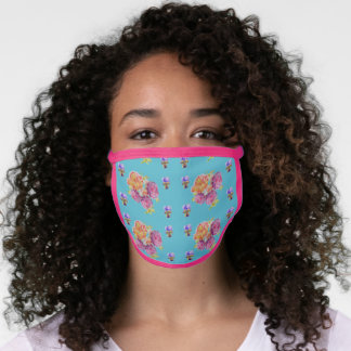 Shabby Chic Teal Rose Flower Pattern Face Mask