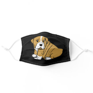 Shar Pei Dog Animal Cartoon Graphic Black Adult Cloth Face Mask