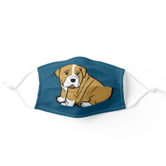 Shar Pei Dog Animal Cartoon Graphic Blue Face Mask