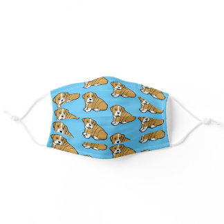 Shar Pei Dog Animal Cartoon Graphic Pattern Blue Adult Cloth Face Mask