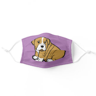 Shar Pei Dog Animal Cartoon Graphic Purple Adult Cloth Face Mask