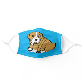 Shar Pei Dog Animal Cartoon Graphic Sky Blue Adult Cloth Face Mask