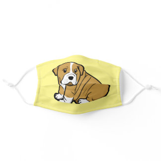 Shar Pei Dog Animal Cartoon Graphic Yellow Adult Cloth Face Mask