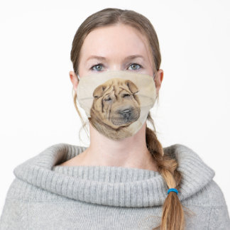 Shar Pei Painting - Cute Original Dog Art Adult Cloth Face Mask