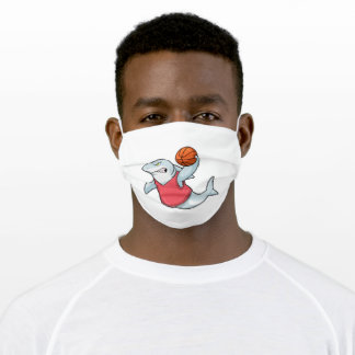 Shark at Sports with Basketball Adult Cloth Face Mask