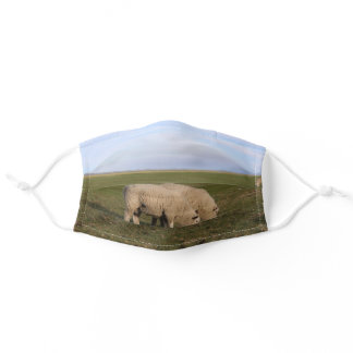 Sheep grass on North Sea Island Pellworm Adult Cloth Face Mask